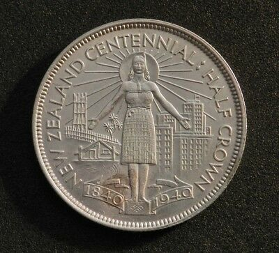 1940 New Zealand Centennial Half Crown In Excellent Condition