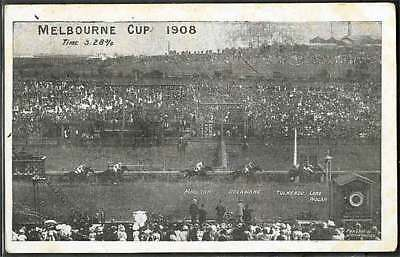 VINTAGE 4 NOV 1908 MELBOURNE CUP PICTURE POSTCARD posted the Day of Horse Race!