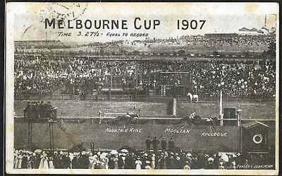 VINTAGE 6 NOV 1907 MELBOURNE CUP PICTURE POSTCARD posted the Day of Horse Race!