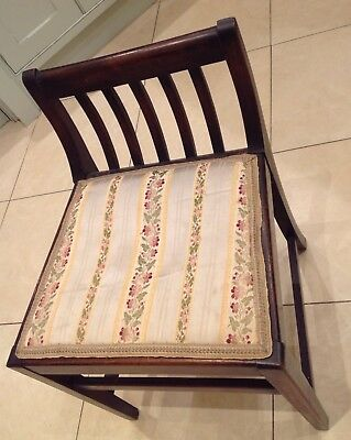 antique wood upholstered piano dressing vanity table chair stool low curved back