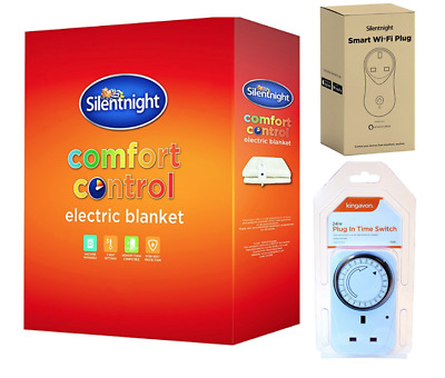 Silentnight Electric Blanket Single Double King / 24 HOUR TIMER / Smart Plug