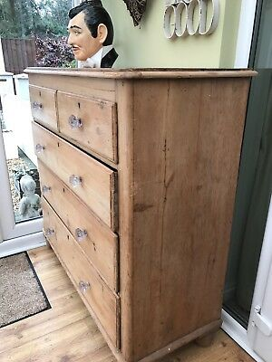 Chest Of Drawers,large Victorian pine with original glass knobs