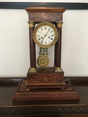 Antique French Portico Mantel Clock Inlaid Rosewood Bell-Strike, 8 Day