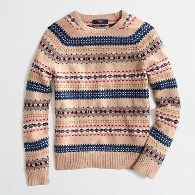 New Without Tags Men's Small J Crew Fair Isle Sweater Lambswool