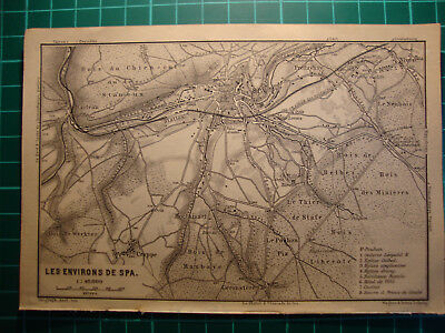 Antique map carte Spa Ardennes Belgium 1902