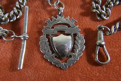 Silver T-Bar Watch Chain With Silver Chester 1911 Fob