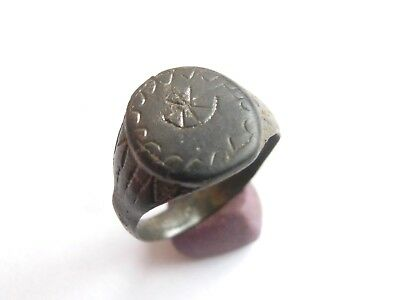Ancient ROMAN Bronze Ring > Engraved CHRITIAN motives Chi - Rho WEARABLE size 9