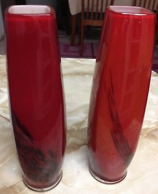 Vintage Red & Black Vases Murano Style Alpine Safedge Pair  Vase x 2 ,22cm tall