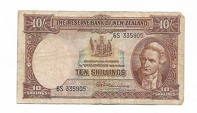 New Zealand  10 Shilling Note   Good Circulated Condition