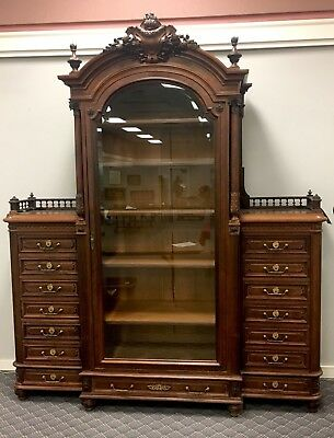 Massive Carved Victorian Rosewood Bookcase. Circa 1910