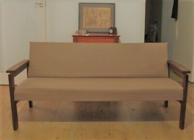 Mid Century Sofa, Original Frame, New upholstery - foam and Beige/Taupe Fabric