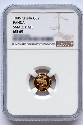 China + Panda + 1996 + Gold + 1/20 oz + NGC MS69 + population only ~ 175 + RARE