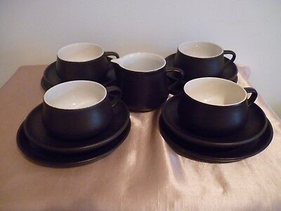 A Vintage Lot Of Honiton Pottery Brown & White - 13 Pieces