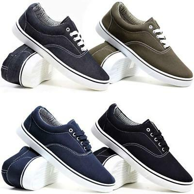 Mens Canvas Shoes New Casual Deck Pumps Plimsolls Retro Skate Gym Trainers Size