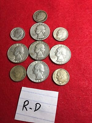 U.S. SILVER COIN COLLECTION[ [5] 1/4's & [5] roosevelt dimes]
