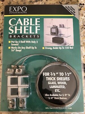 Expo Innovation Cable Brackets W/ Glass Shelves - New Easy to hang shelving 150#