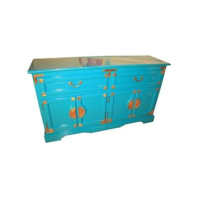 Lacquered Hollywood Regency Chinoiserie Buffet Sideboard Credenza
