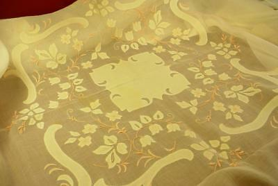 "Vintage 42"" Linen On Organdy Embroidered Tablecloth And 12"" Napkins Pretty Pink!"
