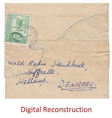 Somaliland Protectorate 1957 printed matter wrapper to Denmark -see description