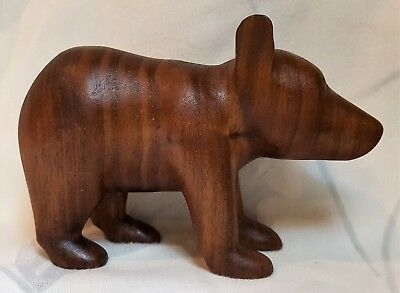 Native American Indian Cherokee mahogany carved handcrafted wood bear cub