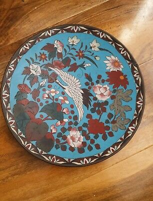 Japanese Cloisonne Enamel Plate Flowers and Crane Charger Plate