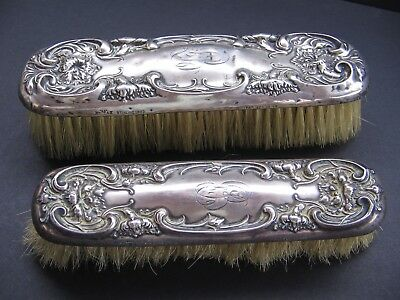 Circa 1900 WALLACE STERLING Silver .925 Clothes Brush & Hat Brush Antique Vanity