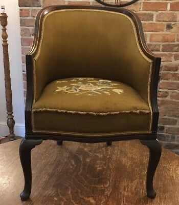 Full Size Antique Edwardian Bow Back Tub Chair With Cabriole Legs- Mahogany