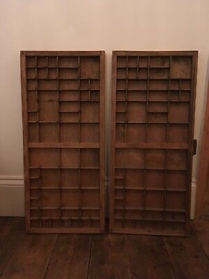 Vintage Letter Press Printing Block Trays. Set Of Two. Used Good Condition.