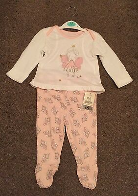 New George Baby Girls 0-3 months Fairy pyjamas, With tag
