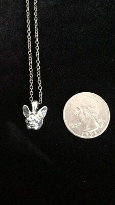 FRENCH BULLDOG / FRENCHIEface dog -SILVER -- fashion NECKLACE- USA SELLER!