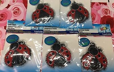 5 PACK Kids REUSABLE COLD GEL PACK Boo Boo CUTE LADYBUG Soothes Bruise Pain
