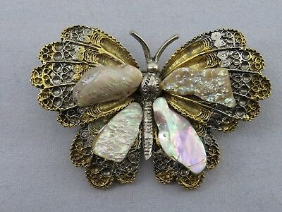 Vintage Butterfly Brooch Signed Art, With Mother Of Pearl On Wings, Rare