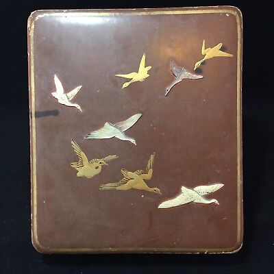 Antique Japanese Lacquer Box Mother Of Pearl & Bovine Bone Inlay Birds Cranes