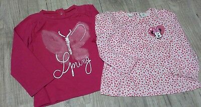 2 tee shirts fille 12 mois prochedu neuf