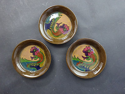 Three Gouda Pottery small dishes or coasters: art nouveau style: perfect