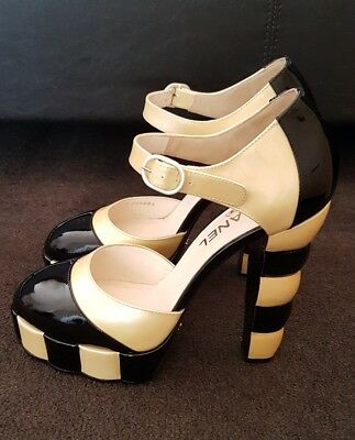 Chanel Black & Yellow Patent Leather Strapped Pump Heel 2008 rare collection