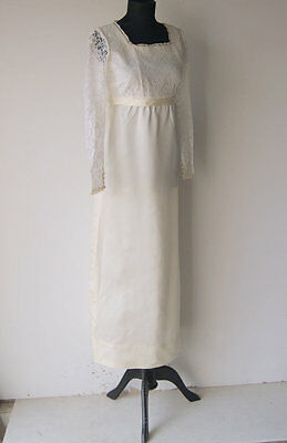 Vintage 1960s Boho Empire Waist Long Sleeved Lace White Ivory Wedding Gown S 4