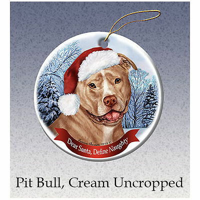 Pit Bull Cream Uncropped Howliday Porcelain China Dog Christmas Ornament
