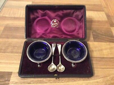 Pair Of Sterling Silver Salts Boxed With Liners And Spoons.