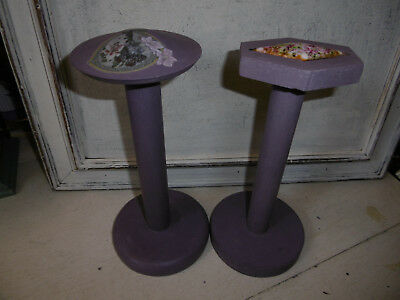 Vintage wooden millinery stand hat stand painted with Annie Sloan paint x 2