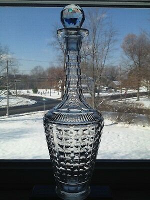 Beautiful Antique Hand Blown Cut Glass Decanter