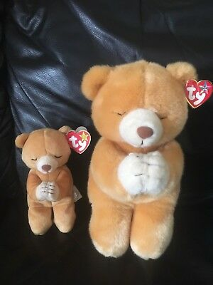 """Ty Beanie Babies Hope Praying Bear Born March 23, 1998 Tag Errors Plus Larger 9"""""""