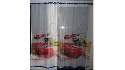 Luxury Disney Cars Voile Net Curtain with Slot Top Fit