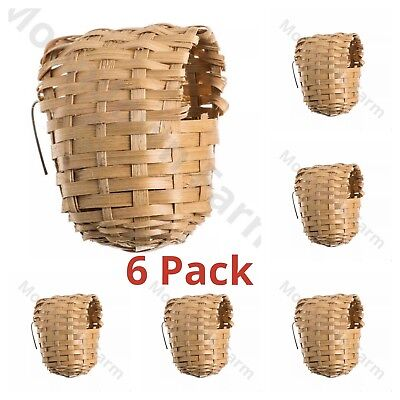 6 x Finch Wicker Nesting Box - Wicker Nest -11x9x9 Hooks on Back for Finches