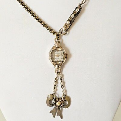 Victorian Wedding Necklace Watch Pendant Vintage Gold Tone Steampunk Handmade 2