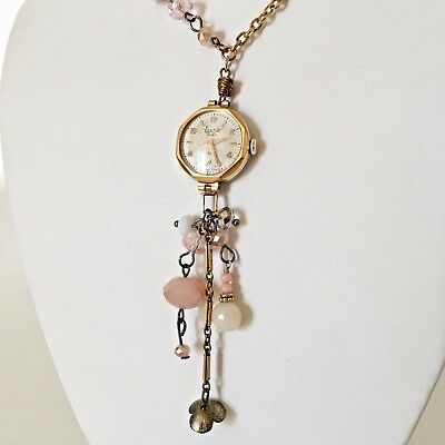 Victorian Wedding Necklace Watch Pendant Vintage Gold Tone Steampunk Handmade 3