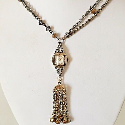 Victorian Wedding Necklace Watch Pendant Vintage Gold Tone Steampunk Handmade 4