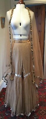 1970's ABBA STYLE THEATRICAL GOLD TULLE TROUSERS & MATCHING SHAWL STAGE COSTUME