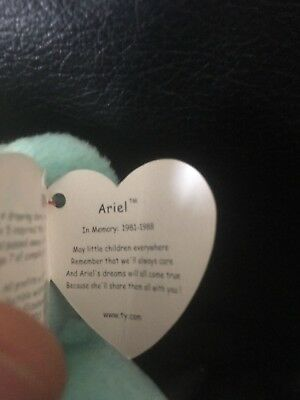 Ty Beanie Baby Ariel with rare tags and stamp in inside
