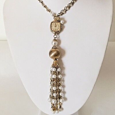 Victorian Wedding Necklace Watch Pendant Vintage Gold Tone Steampunk Handmade 6